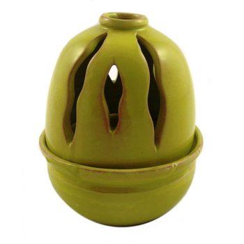 Καντήλι Πήλινο Στρογγυλό σε Χρώμα Λαχανί με Μικρό Δοχείο