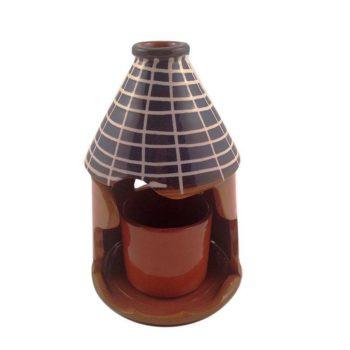 Καντήλι Πήλινο με Ποτήρι σε Χρώμα Καφέ Μεγάλο Μέγεθος